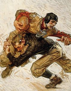 JC Leyendecker, Football Scrimmage, 1909 – The Lucas Museum of Narrative Art Gothic Poster, American Illustration, Illustration Art, Lucas Museum, Jc Leyendecker, Oil On Canvas, Canvas Art, Rolf Armstrong, American Gothic