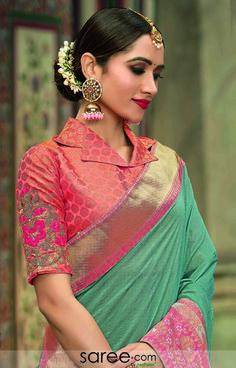 Blouse Designs High Neck, Cotton Saree Blouse Designs, Wedding Saree Blouse Designs, Best Blouse Designs, Blouse Patterns, Stylish Dress Designs, Stylish Blouse Design, Stylish Dresses, Kurta Neck Design