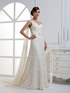 2012 Fall One Shoulder Chiffon bridal gown