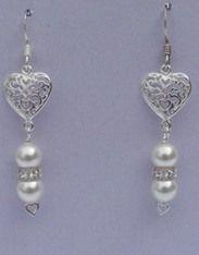 Heart link pearls - Swarovski crystal & sterling silver earrings