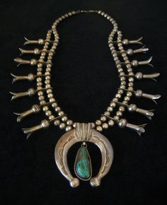 Antique Native American Squash Blossom Necklace Vintage Sterling Silver Turquoise Navajo Indian Naja Jewelry via Etsy.