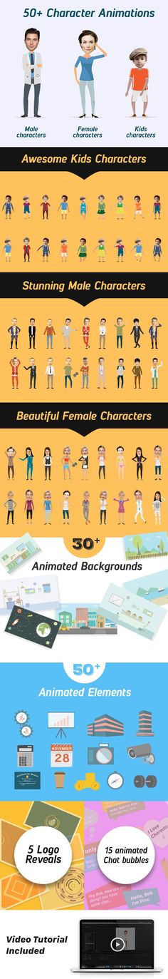 Charcter City is the most comprehensive and flexible explainer video story telling toolkit.    it contains rigged,layered and customizable characters with premade keyframe animations.    in addit...