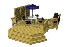 Cool privacy wall on this 237 sf deck 15' x 18'.  Lots of vertical element in this deck design.  Download the plans or any other one of our free deck plans by clicking the image and visiting our website.