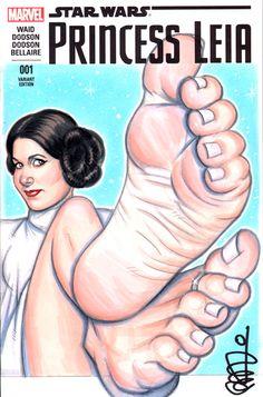 Princess Leia Barefoot by scottblairart
