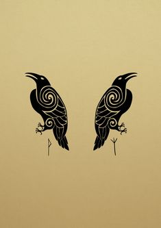 Huggin and Munnin II Viking Tattoo Sleeve, Norse Tattoo, Sleeve Tattoos, Armor Tattoo, Crow Art, Raven Art, Viking Symbols, Viking Art, Hugin Munin Tattoo