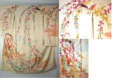 Spring extravaganza coming-of-age furisode  Fabric type: Silk rinzu (Jacquard)  Color: Cream, pale aqua, candy pink with multi-colors, gold & silver  Pattern: Phoenix, orchids, roses & other flowers  Lining: Cream silk with blush pink dip dyed edges