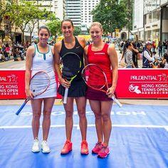 Christina McHale, Caroline Garcia & Angelique Kerber played mini-tennis in the streets of Hong Kong! #WTA