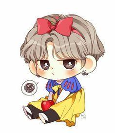 Snow White V Taehyung bts fanart Bts Chibi, Anime Chibi, Chibi Cat, Anime Kawaii, Kpop Drawings, Cartoon Drawings, Chibi Tutorial, Fanart Kpop, Bts Anime