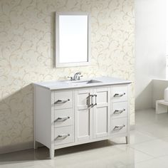 Upgrade your bathroom with this white bathroom vanity. This vanity features a distinctive quartz marble top, multi-finished chrome pulls, and six functional drawers. It's three pre-drilled faucet holes makes faucet installation a true breeze.