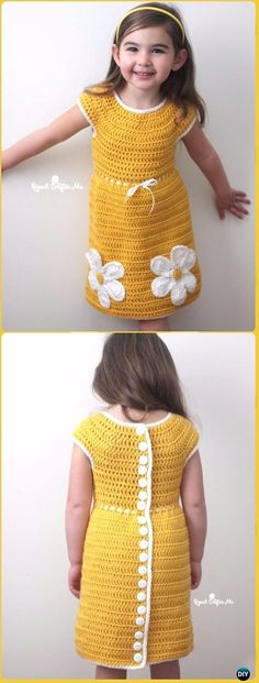 Caron Crochet Daisy Dress FreePattern - Crochet Girls Dress Free Patterns