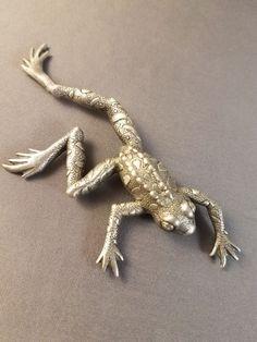 """Vintage JJ Pewter Frog Brooch.  Measures about 3 1/2"""" Long"""