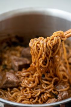 This instant noodle dish, called jjapaguri (or ram-don), from the movie Parasite is getting highly popular all over the Chinese Noodle Dishes, Korean Dishes, Korean Food, Chinese Food, Korean Bbq, Asian Recipes, Healthy Recipes, Ethnic Recipes, Potluck Recipes
