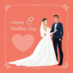 Bride and groom with wedding invitation card vector 01 Wedding Invitation Cards, Wedding Cards, Wedding Stamps, Happy Wedding Day, Wedding Illustration, Wedding Prints, Wedding Images, Wedding Ideas, Wedding Couples