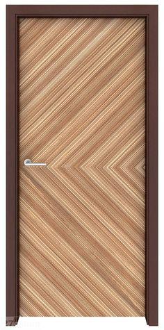 Zebrawood Rio wood interior door, door jambs in Wenge finish