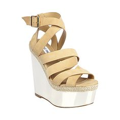 REFLECTN NUDE NUBUCK women's sandal high wedge - Steve Madden--so cute don't know if it would look good on me tho