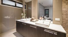 This stunning master ensuite has double sinks for added luxuriousness and convenience.