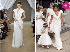 Este tipo de escote o cuello columpio es una de las tendencias de vestidos de novia 2013.