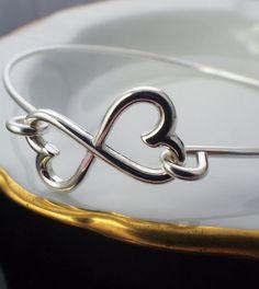 Infinity Heart Sterling Silver Bangle Bracelet  #unkamengifts
