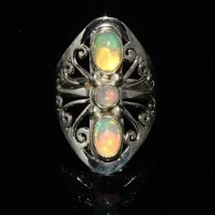 925 STERLING SILVER NATURAL ETHIOPIAN WELO FIRE OPAL CABOCHON RING JEWELRY #273