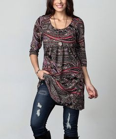 This Black & Pink Paisley Empire-Waist Tunic Dress - Plus is perfect! #zulilyfinds