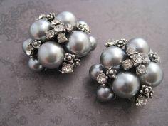 Wedding gray pearl rhinestone bridal shoe clips. $24.00, via Etsy.