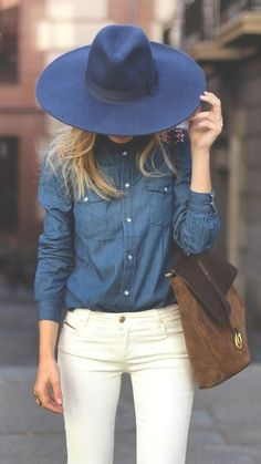ee67dd824fd Fashion  New York City Style. Denim on denim  a dark denim shirt and white  jeans
