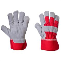 Elite Leather Rigger Work Gloves (12) - High quality split leather Rigger Work gloves, heavyweight cotton fabric with knuckle strap and reinforced index finger. Red & Silver.    These Rigger Work Gloves are sold in packs of 12- One Size    Specification:    High quality split leather Rigger work gloves - Red & Silver  Heavyweight cotton fabric  Reinforced index finger  Rubberised safety cuff  Fleece palm liner  Elastic tensioner  Knuckle strap - from only £9.30