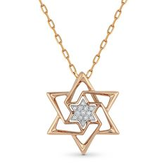 0.04ct Round Cut Diamond Star of David Pendant & Chain Necklace in 14k Rose Gold - AM-DP5084 - AlfredAndVincent.com