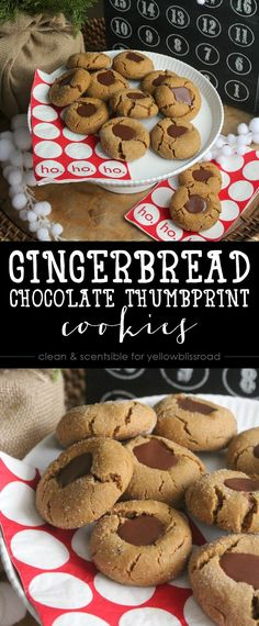 Gingerbread Chocolate Thumbprint Cookies