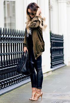 khaki long bomber jacket outfit bmodish
