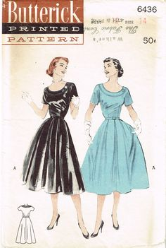 """Butterick Pattern 6436 Misses' Dress Pattern with Easy Cap Sleeves Dated 1953 Factory Folded and Unused Nice Condition Overall Size 14 (32"""" Bust) We Sell the Best Original Vintage Sewing Patterns and Embroidery Transfers!"""
