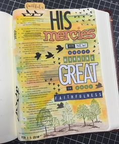So I've finally started on my bible journaling journey. I struggled with the thought of painting etc in my bible but really felt this was a way to get back into God's Word. I've been pondering for some time where to start but after a few things happened in a row it was as if God was telling me or reminding me HE is faithful and his steadfast love NEVER ceases ... EVER. @natalieelph has been a great inspiration and encouraging . I've loved getting ideas off @illustratedfaith YouTube Pinterest…