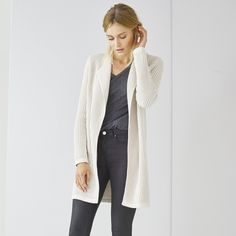 The White Company US. Thermal Stitch Waterfall Cardigan | Pinning from the UK? -> http://www.thewhitecompany.com/Thermal-Stitch-Waterfall-Cardigan/p/TSCWC?swatch=Natural