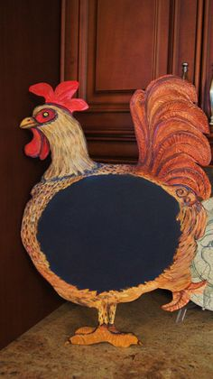 Rockin Rooster Decorative Kitchen Chalkboard Original Cut Out --- Great Gift Idea