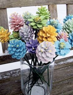 This Pine Cone Flowers Craft is an easy diy and you are going to love the gorgeous results. Turn your Pine Cones Upside Down and they turn into Zinnias. (fall crafts for kids pine cones) Kids Crafts, Easter Crafts, Home Crafts, Diy And Crafts, Christmas Crafts, Craft Projects, Arts And Crafts, Pine Cone Crafts For Kids, Pinecone Crafts Kids
