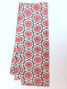 Straight scarf Red  Flowers with White and Navy Colors