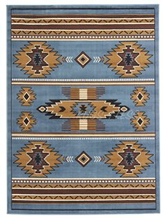 Rugs 4 Less Collection Southwest Native American Indian Area Rug Design R4L SW3 in Light Blue 5X7 *** To view further for this item, visit the image link.