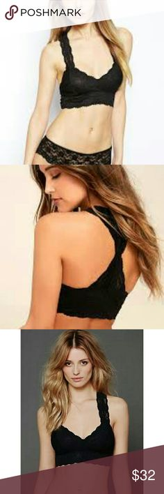 FREE PEOPLE Racerback Crop Bralette NWT $38 FREE PEOPLE Racerback Crop Bralette, in Black 💕  Size: Extra Small XS NWT , New with Tags,  Retail Price: $38  Stretchy floral lace racerback bralette from Free People Mesh lining Scalloped edges 85% Nylon / 15% Spandex Hand wash cold Free People Intimates & Sleepwear Bras