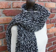 Luxurious Chunky Knit Scarf Long Unisex Black and Gray Wool
