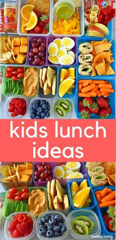 Back to School Kids Lunch Ideas. Healthy lunch ideas for kids. What to pack in your child's school lunchbox. A list of healthy foods to feed your kids. www.modernhoney.com