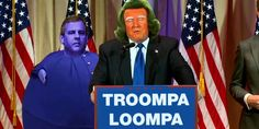 Donald Trump As An Oompa Loompa, And Chris Christie As Violet Beauregarde - Casey Hendrickson - Radio Talk Show Host Aliens, Donald Trump Funny, Donald Meme, Keith Olbermann, Chris Christie, Funny Memes, Hilarious, Jokes, Funny Gifs