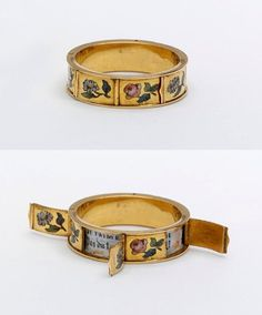 A ring made in France between 1830-60, with the romantic hidden message 'je t'aime'.