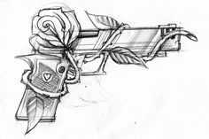 Rose and gun tattoo