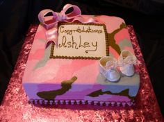 Pink Camo Baby Shower Cake   This Is Buttercream Frosted With Fondant Bow  And Fondant Baby Booties Lots Of Fun Doing This Cake Thanks For The  Inspiration ...
