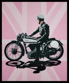Conrad Leach :: Interview British artist Conrad Leach on the advantage of not having studied fine art in college, how his latest exhibition is a celebration of Britishness, and the best day he ever had. Norton Motorcycle, Motorcycle Posters, Motorcycle Art, Bike Art, Chopper, Art Moto, Wolf, Motorcycle Wallpaper, Motorcycle Photography