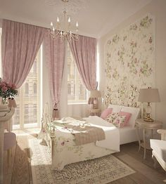 I love the pink curtains next to the floral wallpaper. Super cute as fun.I love the pink curtains next to the floral wallpaper. Super cute as fun. All the colors and designs definitely feel aesthetic pleasing. Grey Wallpaper Living Room, Bedroom Wallpaper, Estilo Shabby Chic, Pink Curtains, Woman Bedroom, Shabby Chic Bedrooms, Luxurious Bedrooms, Home Decor Furniture, Home Living Room