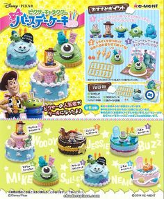 Re-ment Disney Pixer Character Birthday Cakes