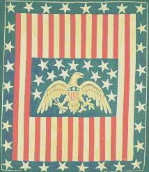 "Patriotic Quilt Variation. Maker unknown, n.d., New York. 76"" x 88 ¼"" cotton, hand-piecing, hand-appliqué. Image used by permission. The Daughters of American Revolution,"