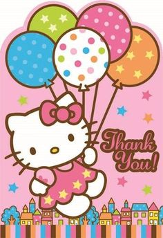 Amscan Hello Kitty Balloon Dreams Die-Cut Thank You Cards, 8-Count Hello Kitty Party Supplies, Hello Kitty Theme Party, Hello Kitty Themes, Hello Kitty Birthday, Decoracion Hello Kitty, Hello Kitty Invitations, Hello Kitty Pictures, Kitty Photos, Kitty Images