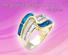 "Gems of Wisdom: Euripides and Opal Inlay Swirl Ring - ""The greatest pleasure of life is love."" ~ Euripides - See more at: http://www.callagold.com/gems-of-wisdom/gems-of-wisdom-euripides-and-opal-inlay-swirl-ring/#sthash.ZGDHvPg7.dpuf"